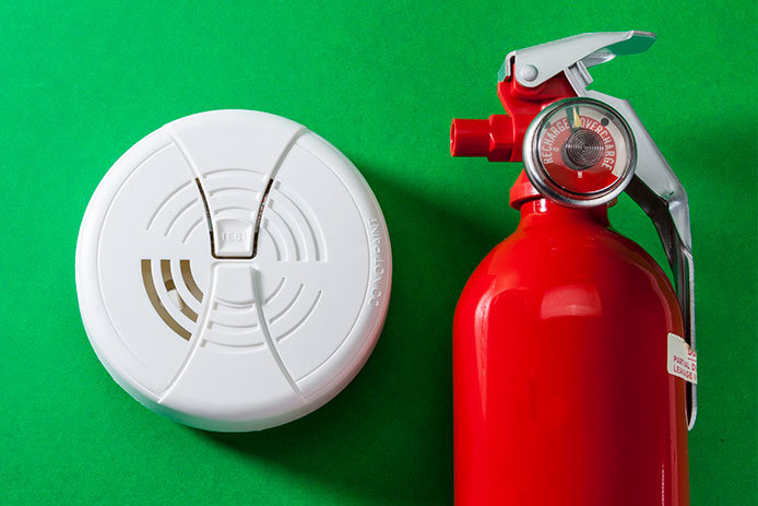 Smoke detector and fire extinguisher