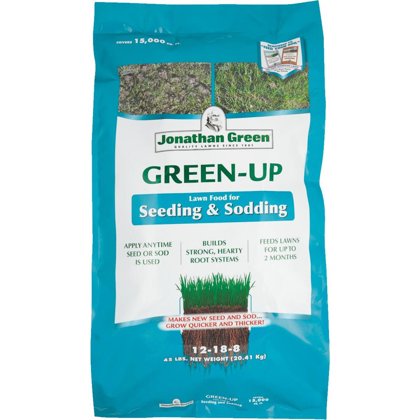 Jonathan Green Green-Up 45 Lb. 15,000 Sq. Ft. 12-18-8 Seeding & Sodding Lawn Fertilizer Image 1